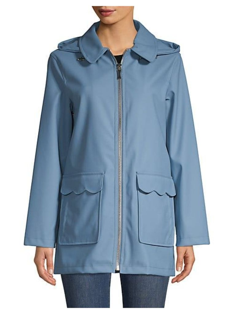 Hooded Zipper Trench Coat