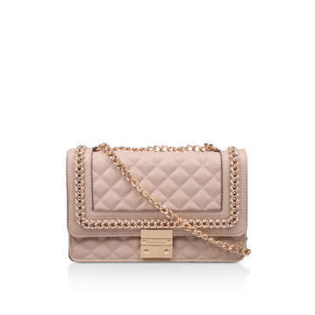Carvela Large Bailey Chain Bag - Nude Quilted Chain Shoulder Bag