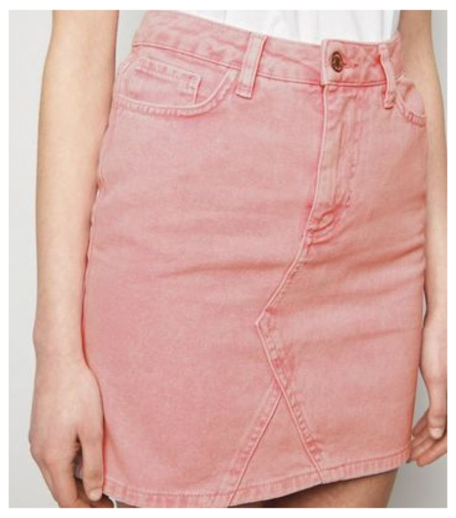 Pink Acid Wash Denim Mom Skirt New Look