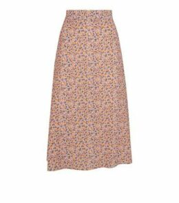Petite Pink Ditsy Floral Midi Skirt New Look