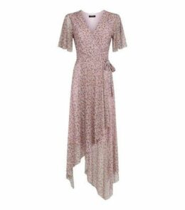 Pink Ditsy Floral Mesh Wrap Midi Dress New Look