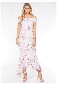 Quiz Pink and Lilac Floral Bardot Frill Hem Midi Dress