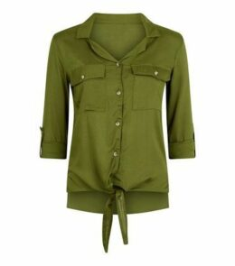 Innocence Khaki Tie Front Utility Shirt New Look