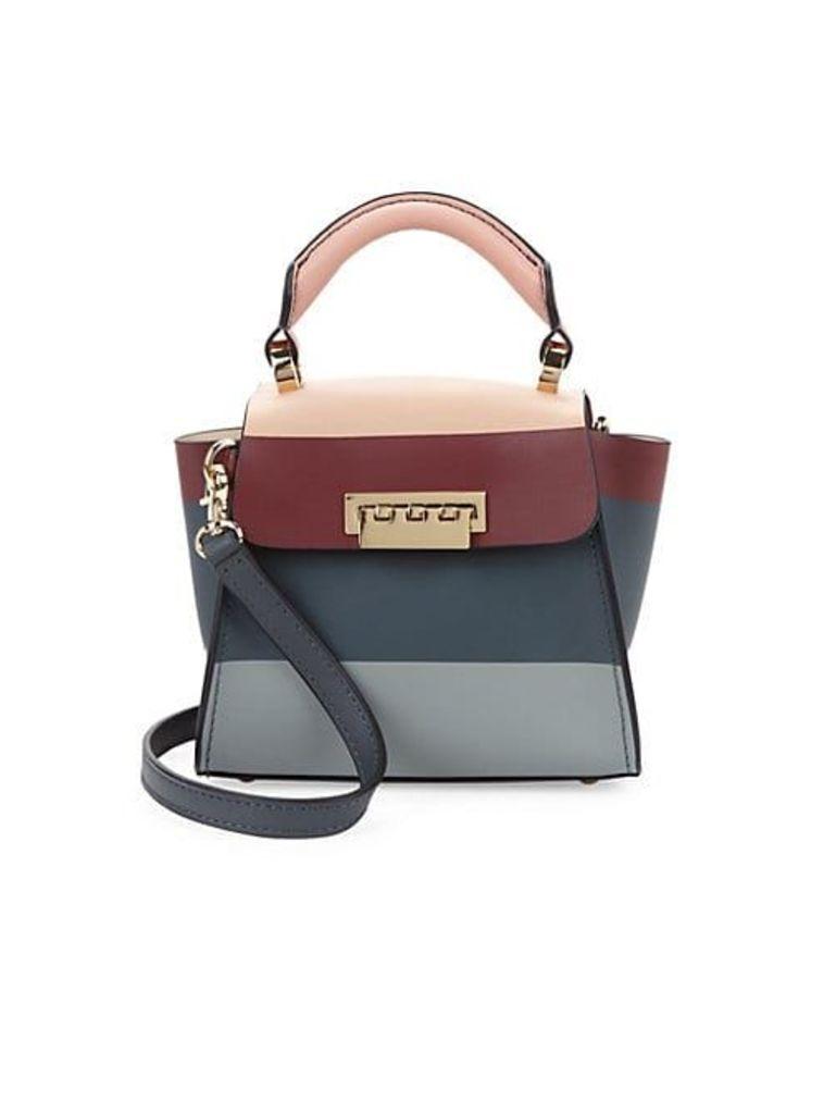 Colorblock Winged Leather Shoulder Bag