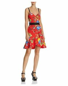 Alice + Olivia Kirby Lace-Trim Ruffled Floral Dress