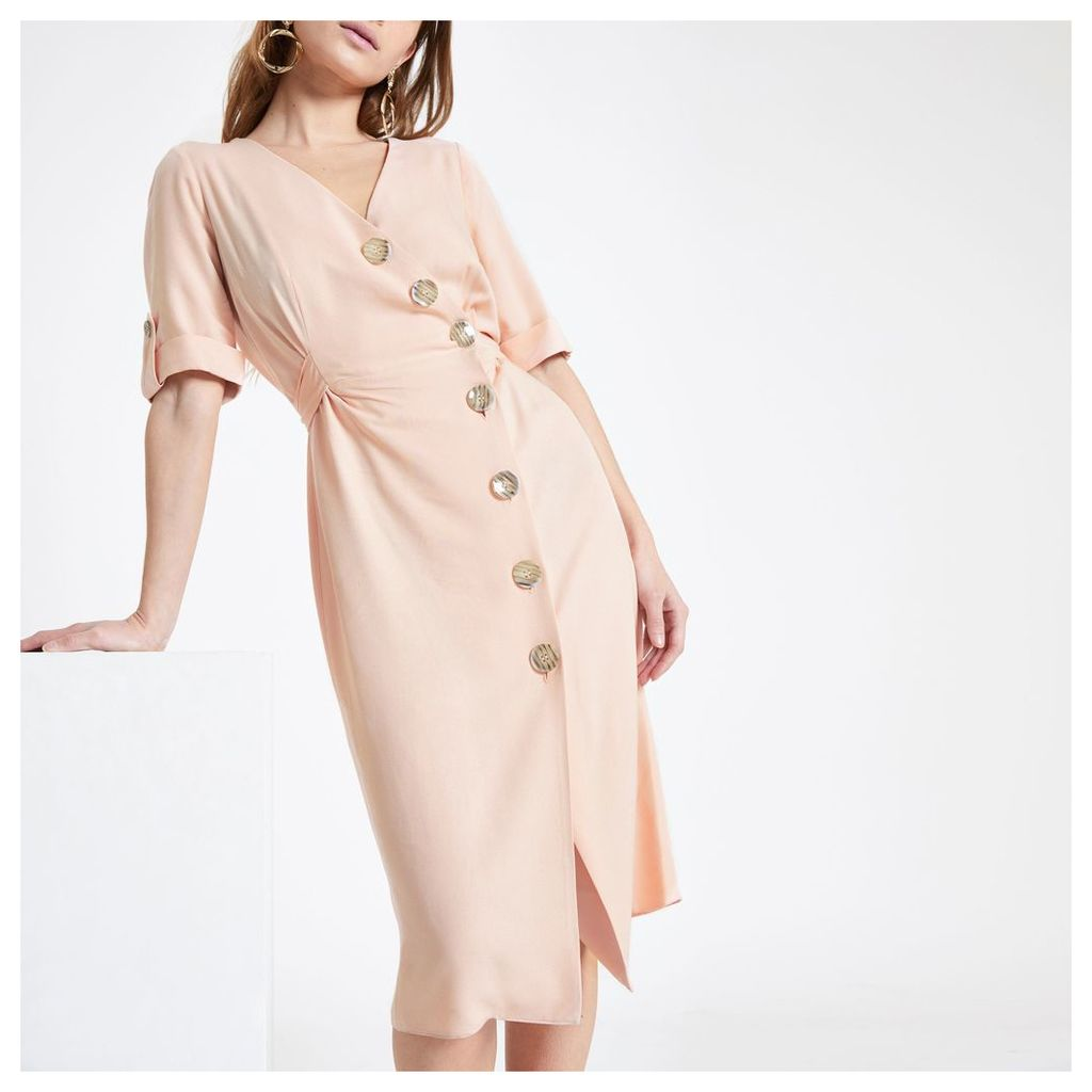 Womens Petite button front midi dress