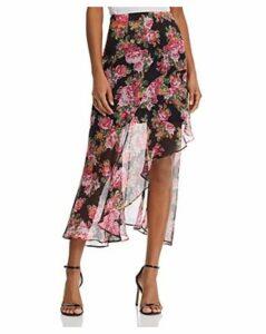 Keepsake Oblivion Asymmetric Floral Midi Skirt