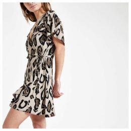 Womens Petite Brown leopard print tea dress