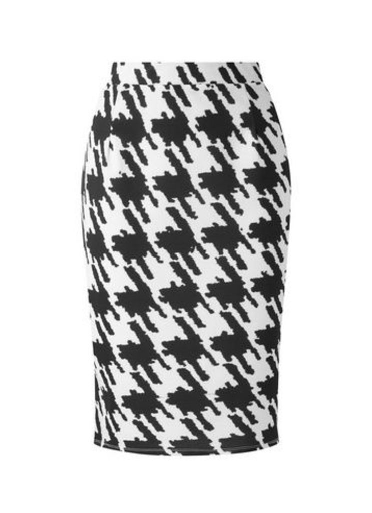 **Grace Black Printed Pencil Skirt, Black