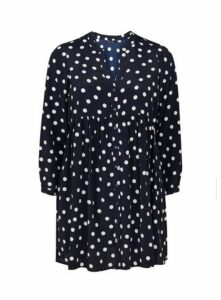 Navy Blue Spotted Tunic Top, Navy