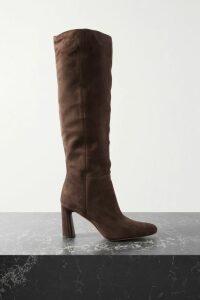 Olivia von Halle - Isla Printed Silk-satin Midi Skirt - Black