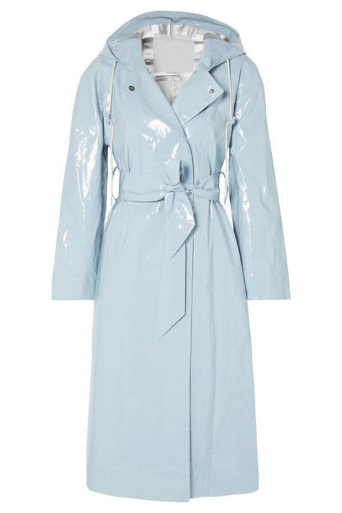 ALEXACHUNG - Hooded Belted Coated Cotton-blend Raincoat - Light blue