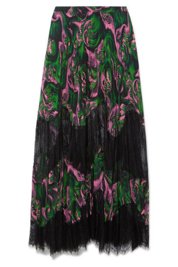 McQ Alexander McQueen - Pleated Printed Georgette And Lace Maxi Skirt - Green