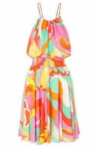 Emilio Pucci - Smocked Printed Voile Mini Dress - Orange