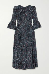 ALEXACHUNG - Floral-print Crepe De Chine Mini Dress - Light blue