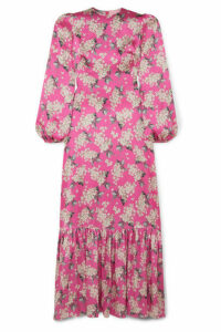 The Vampire's Wife - Belle Pleated Floral-print Silk-satin Maxi Dress - Fuchsia