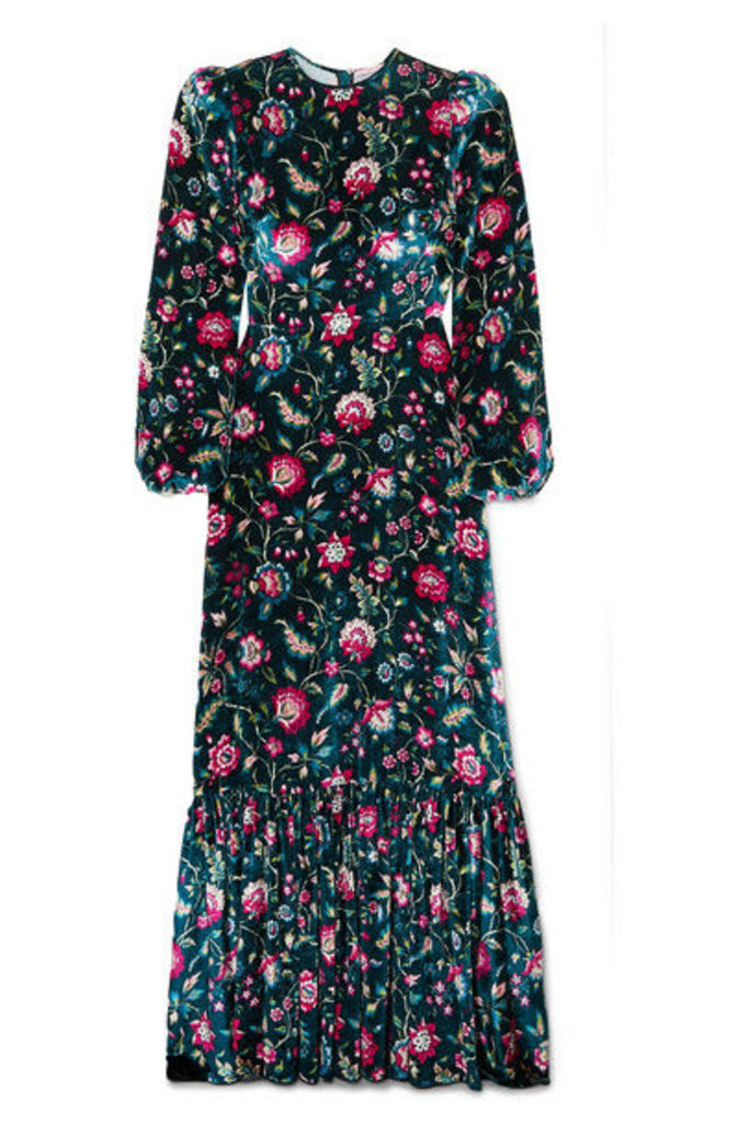 The Vampire's Wife - Belle Floral-print Velvet Maxi Dress - Navy