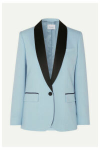 Racil - James Satin-trimmed Wool Blazer - Sky blue
