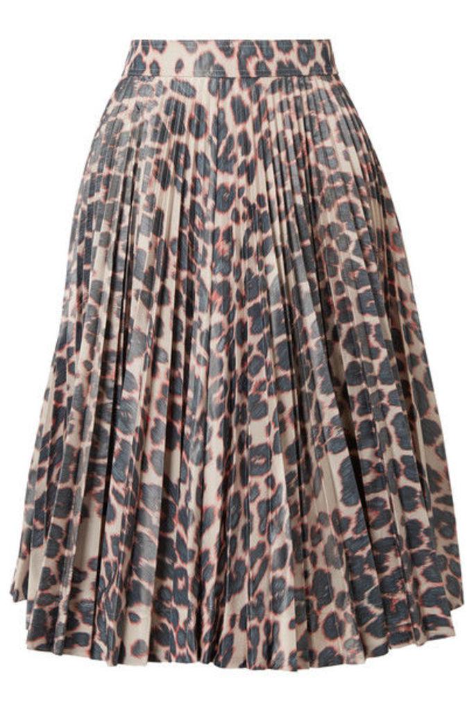CALVIN KLEIN 205W39NYC - Pleated Leopard-print Taffeta Midi Skirt - Beige