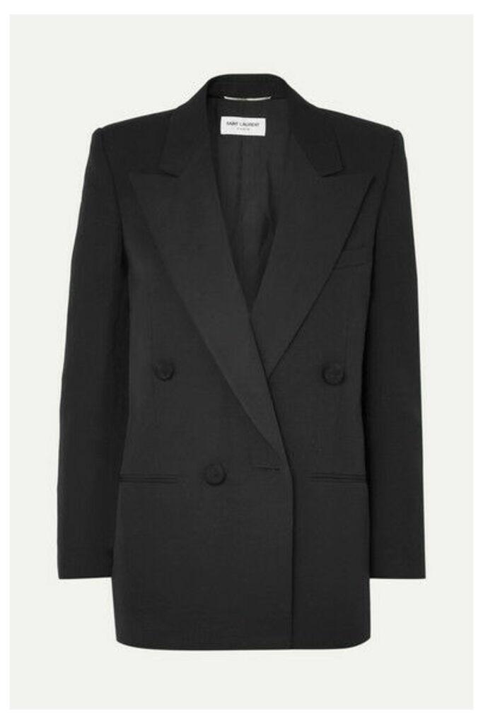SAINT LAURENT - Double-breasted Satin-trimmed Wool Blazer - Black