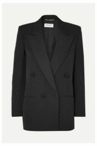 SAINT LAURENT - Double-breasted Satin-trimmed Wool Blazer - Black