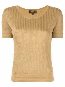 Fendi Pre-Owned logo knit top - Yellow