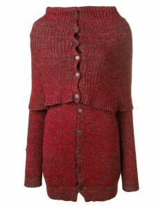 Yohji Yamamoto Pre-Owned ribbed high neck cardigan - Red