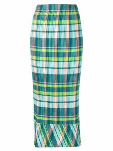 Issey Miyake Pre-Owned plissé Madras check skirt - Green