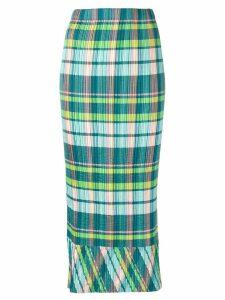 Issey Miyake Pre-Owned plissé Madras check skirt - Green