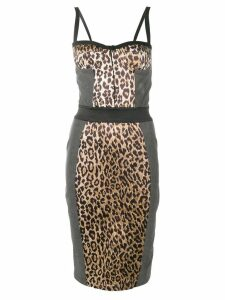 Dolce & Gabbana Pre-Owned leopard print denim bustier dress - Grey