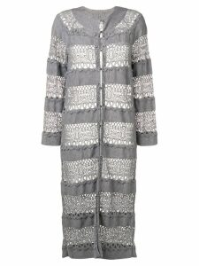 Christian Dior Pre-Owned lace knit longline cardigan - Grey