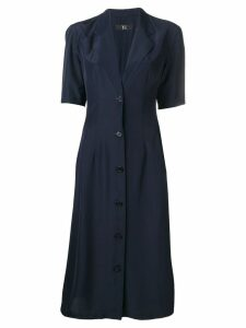 Yohji Yamamoto Pre-Owned pleated midi dress - Blue