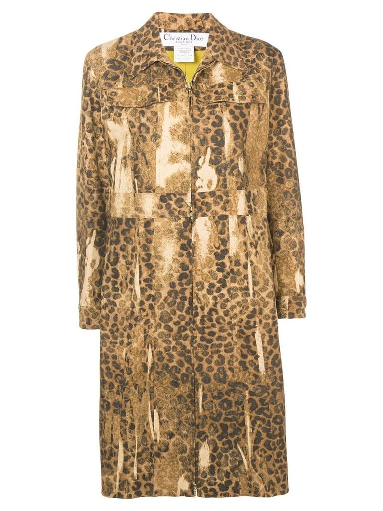 Christian Dior Pre-Owned leopard print coat - Brown