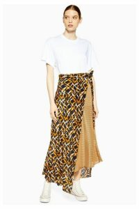 Womens **Geometric Print Silk Skirt By Boutique - Multi, Multi