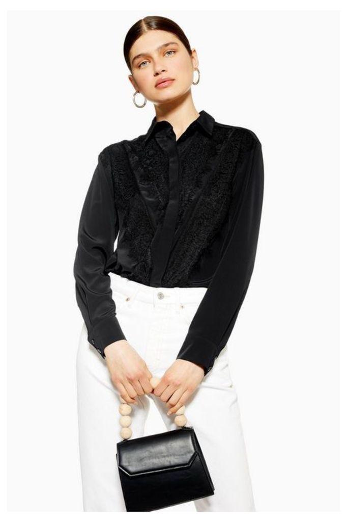 Womens Lace Shirt - Black, Black
