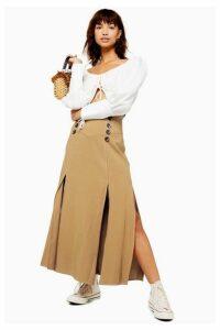 Womens Petite Button Midi Skirt - Tan, Tan