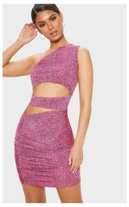 Pink Leopard Print Slinky Cut Out Ruched Bodycon Dress, Pink
