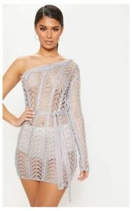 Silver Metallic Knitted Chain Detail One Shoulder Mini Dress, Grey