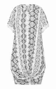 Grey Knot Detail T Shirt Dress, Grey