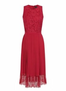 Womens **Little Mistress Cranberry Lace Midi Skater Dress- Cranberry, Cranberry