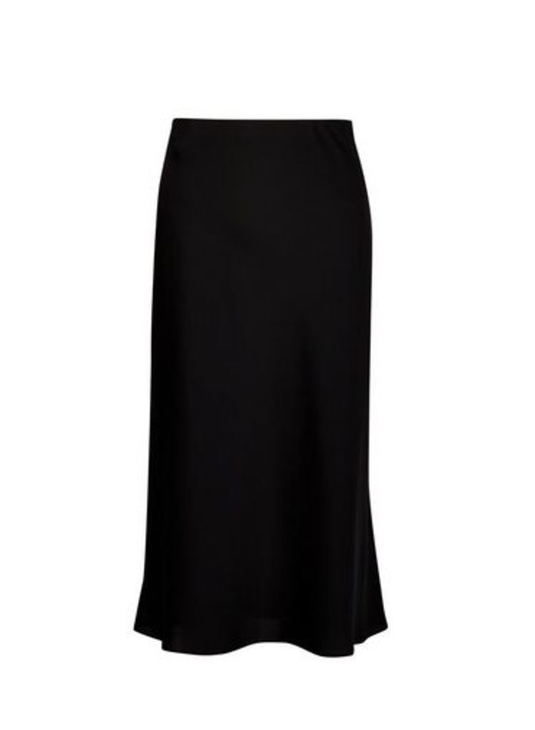 Womens Black Bias Satin Midi Skirt- Black, Black