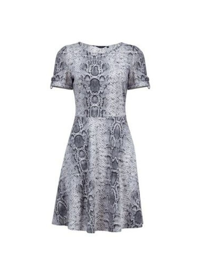 Womens Multi Colour Snake Print Short Sleeve T-Shirt Dress- Black, Black