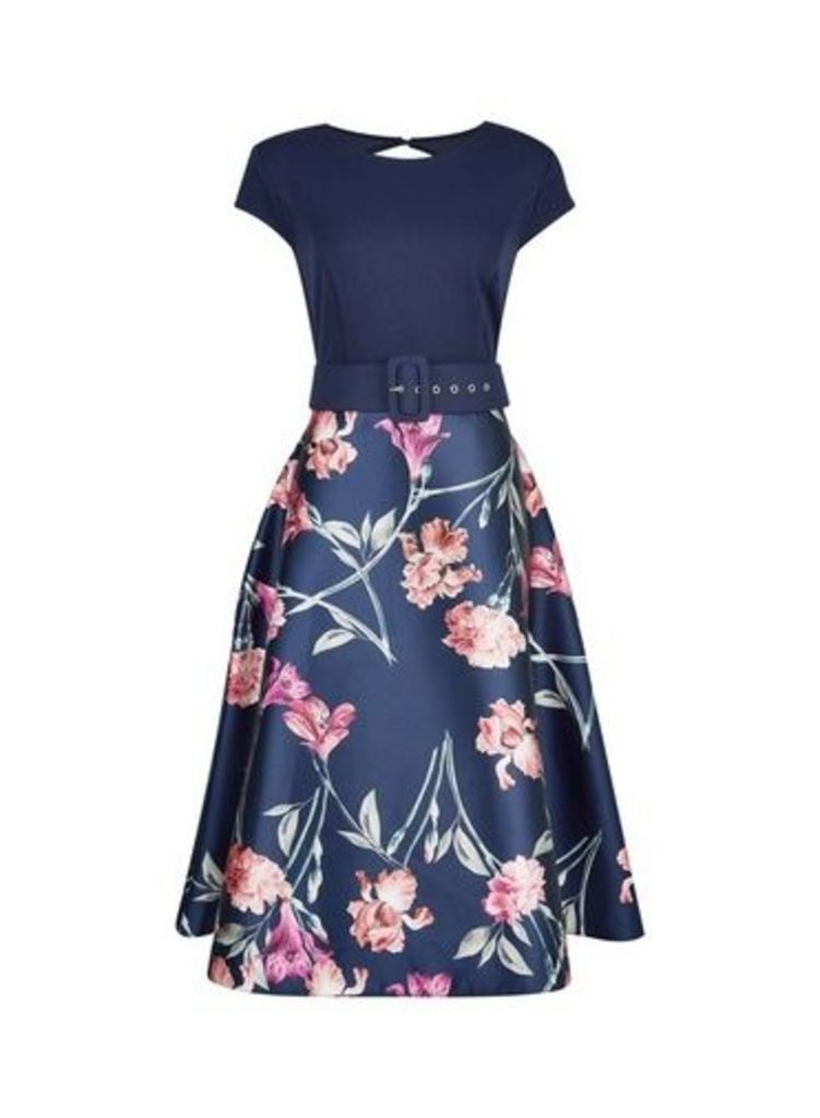 Womens **Luxe Navy Floral Print Belted Dress- Multi Colour, Multi Colour