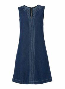 Womens *Roman Originals Denim V-Neck Shift Dress- Blue, Blue