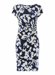 Womens *Roman Originals Floral Print Ruched Waist Dress- Blue, Blue