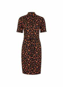 Womens Multi Colour Short Sleeve Shirt Dress- Khaki, Khaki