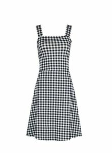 Womens Black Gingham Tie Strap Fit And Flare Dress- Black, Black
