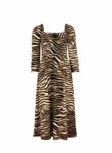 Womens Multi Colour Cheetah Shirred Long Sleeve Midi Skater Dress- Black, Black