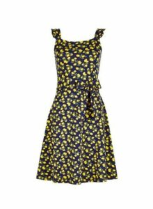 Womens Multi Colour Tie Waist Fit And Flare Dress- Yellow, Yellow