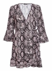 Womens *Quiz Pink Snake Print Wrap Dress- Pink, Pink